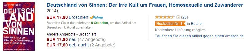 Das Buch Deutschland von Sinnen auf Platz 1